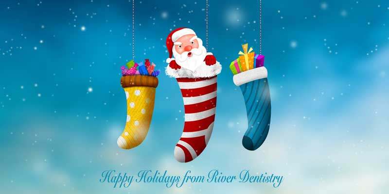 happy holidays from river dentistry blue